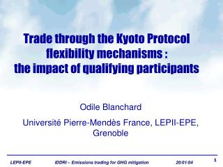 Trade through the Kyoto Protocol  flexibility mechanisms :  the impact of qualifying participants