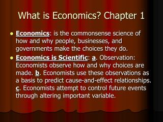 What is Economics? Chapter 1