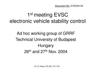 1 st  meeting EVSC electronic vehicle stability control