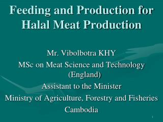 Feeding and Production for  Halal Meat Production
