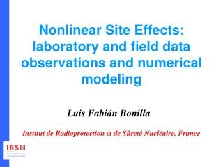Nonlinear Site Effects: laboratory and field data observations and numerical modeling