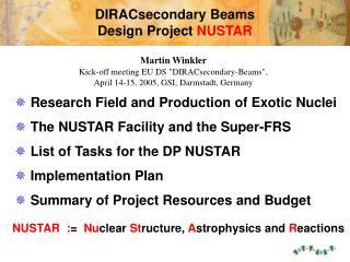 DIRACsecondary Beams  Design Project  NUSTAR