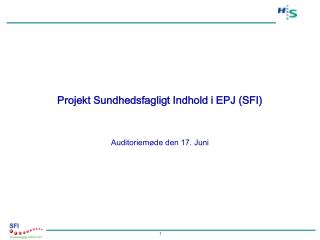 Projekt Sundhedsfagligt Indhold i EPJ (SFI)
