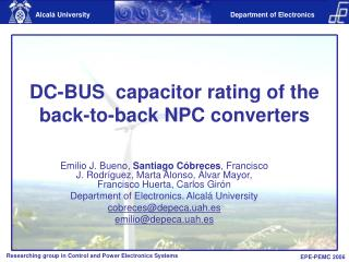 DC-BUS  capacitor rating of the back-to-back NPC converters