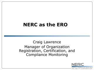 NERC as the ERO