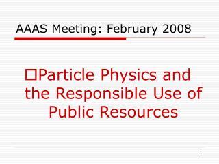 AAAS Meeting: February 2008