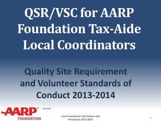 QSR/VSC for AARP Foundation Tax-Aide Local Coordinators