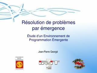 R�solution de probl�mes par �mergence �tude d�un Environnement de  Programmation �mergente