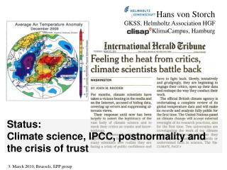 Status:  Climate science, IPCC, postnormality and the crisis of trust