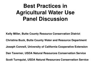 Kelly Miller, Butte County Resource Conservation District