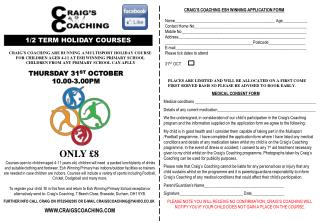 CRAIG'S COACHING ESH WINNING APPLICATION FORM