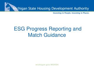 ESG Progress Reporting and Match Guidance