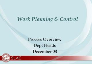 Work Planning & Control