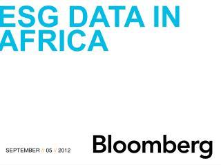 E sg  data in  africa