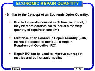 ECONOMIC REPAIR QUANTITY