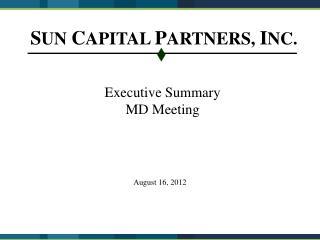 Executive Summary MD Meeting