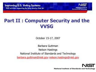 Part II : Computer Security and the VVSG