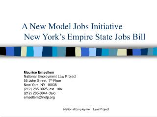 A New Model Jobs Initiative  New York's Empire State Jobs Bill
