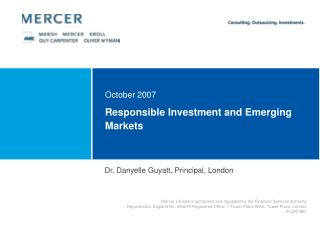 Responsible Investment and Emerging Markets