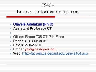 IS404 Business Information Systems