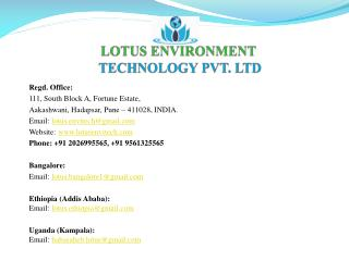 LOTUS ENVIRONMENT  TECHNOLOGY PVT. LTD