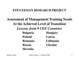 ETF/CEEMAN RESEARCH PROJECT