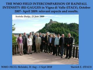 WMO-TECO, Helsinki, 31 Aug – 1 Sept 2010                             Vuerich E. (ITALY)