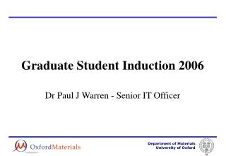 Graduate Student Induction 2006