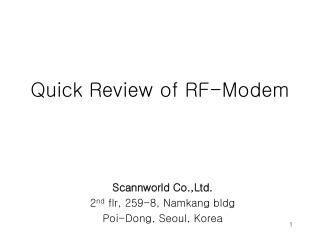 Quick Review of RF-Modem