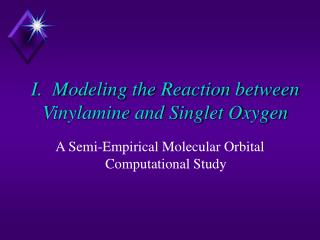 I.  Modeling the Reaction between Vinylamine and Singlet Oxygen