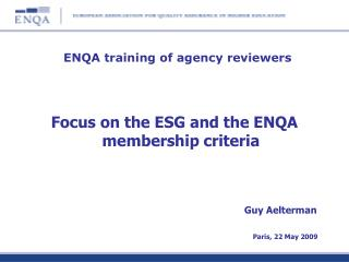 ENQA training of agency reviewers
