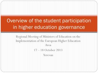 Overview of the student participation in higher education governance