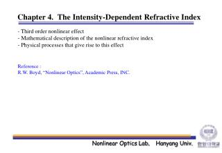 Chapter 4.  The Intensity-Dependent Refractive Index