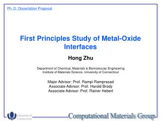 First Principles Study of Metal-Oxide Interfaces