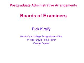 Postgraduate Administrative Arrangements Boards of Examiners