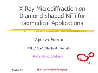 X-Ray Microdiffraction on Diamond-shaped NiTi for Biomedical Applications