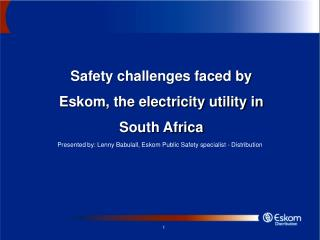 Safety challenges faced by Eskom, the electricity utility in South Africa