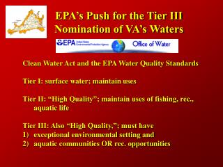 EPA's Push for the Tier III Nomination of VA's Waters