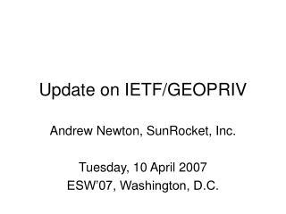 Update on IETF/GEOPRIV