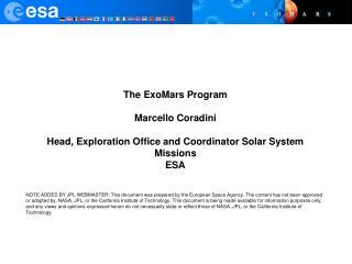 The ExoMars Program Marcello Coradini