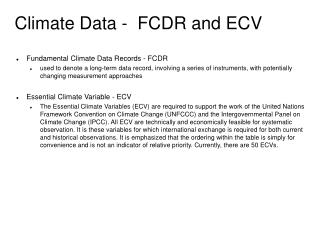Climate Data -  FCDR and ECV