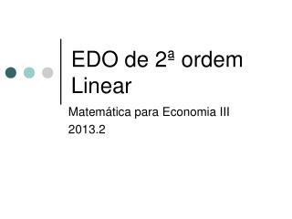 EDO de 2ª ordem Linear