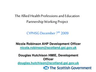 The Allied Health Professions and Education Partnership Working Project