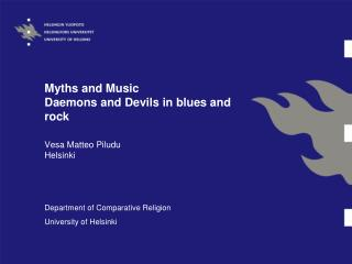 Myths and Music Daemons and Devils in blues and rock