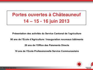Portes ouvertes à Châteauneuf 14 – 15 - 16 juin 2013