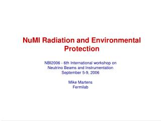 NuMI Radiation and Environmental Protection