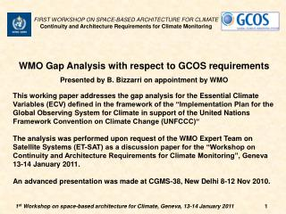 WMO Gap Analysis with respect to GCOS requirements