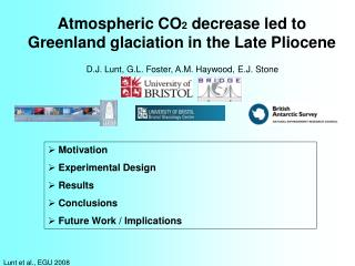Atmospheric CO 2  decrease led to Greenland glaciation in the Late Pliocene