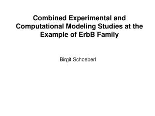 Combined Experimental and Computational Modeling Studies at the Example of ErbB Family