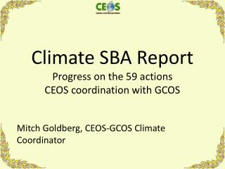 Climate SBA Report Progress on the 59 actions CEOS coordination with GCOS